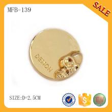 MFB139 Remache del botón del metal de la manera de la forma redonda, botón del metal de la prensa con color del oro