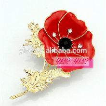Schöne Mode heiße rote Blume Brosche Stifte