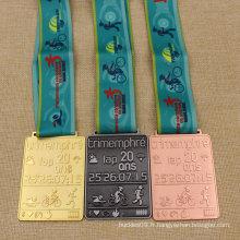 Personnalisé en métal karaté / course / pièce de monnaie / médaillon / or / argent / bronze / émail / marathon / insigne / médaille de sport avec ruban