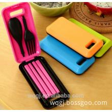 Colorful Portable Flatware Folding Dinner Spoon Fork Chopsticks Plastic Fordable Tableware Set