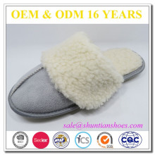warm plush furry collar TPR sole winter warm indoor slippers