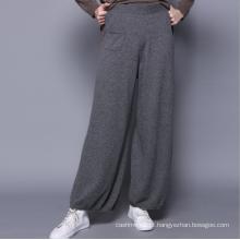 Novas calças 100% caxemiras, calças casuais femininas, show solto feminino, temperamento frouxo, calças largas e ocasionais
