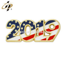 Promotional 2019 metal gold enamel Patriotic Year lapel Pin