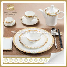 Bone china Italian style dinnerware set arabic for 6 people with gold decal