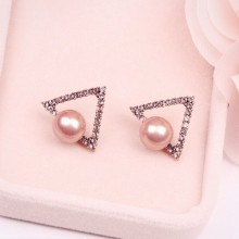 Fake Pink Pearl Earrings Stud
