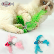 Fisch-Form-wechselwirkende Katzen-Spielwaren verpacken mit Katzenminzen-Kätzchen-Plüsch-Katzen-Kratzer-Spielzeug