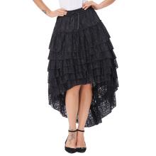 Belle Poque Señoras Alto-Bajo hemline diseño Negro Amelia Steampunk Ruffled encaje Cake Skirt popular falda BP000221-2