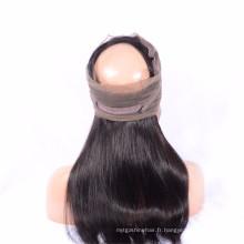 Meilleure affaire Extension de cheveux naturels brésilien 4 faisceaux avec 360 perruques de dentelle frontale