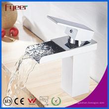 Fyeer Chrome Short Arc Rechteckigen Auslauf Einhand Wasserfall Badezimmer Waschbecken Wasserhahn Wasser Mischbatterie