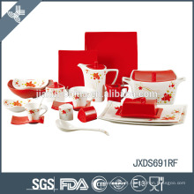 vermelho como rosa excelente qualidade luxo porcelana jantar conjunto