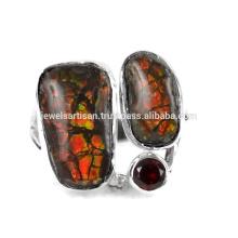 Natural Ammolite E Garnet Gemstone 925 Sterling Silver Ring Jewelry
