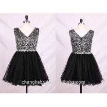 Heavy beading sexy V neck sleeveless short tulle prom party dress