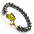 Pulsera Hematite 8MM Round Beads Stretch Gemstone con Diamante aleación Fish Piece