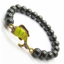 Hematite 8MM Round Beads Stretch Gemstone Bracelet with Diamante alloy Fish Piece