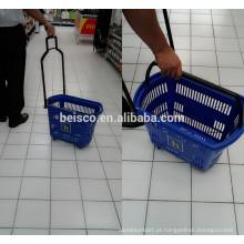 Cesta de compra durável sobre rodas para loja de conveniência