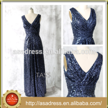 E 1002 Ornate Sparkling Sequins Full Length V Neckline Navy Blue Bridesmaid Dress