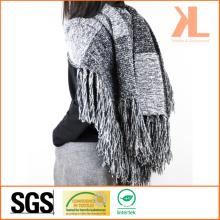 Acrylic Fashion Lady Winter Warm Gray Striped Fringed Knitted Shawl