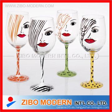Vidrio de vino pintado a mano de alta calidad