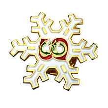 Top for Emblem Metal Badge Christmas Souvenir Glitter White Snowflake Lapel Pin supply to Netherlands Exporter