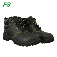 Black Embossed Leather Upper PU Injection Sole Men safety shoes wholesale