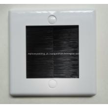 Placa frontal de parede de entrada de cabo de escova branca com cerdas