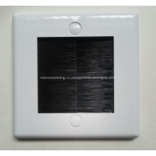 Белая щеточная лицевая панель для кабельного ввода со щетиной