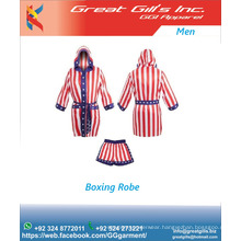 Custom subloimation Flag Boxing Robe with hood and from pockets and MMA Short Custom made satin Boxing Gown