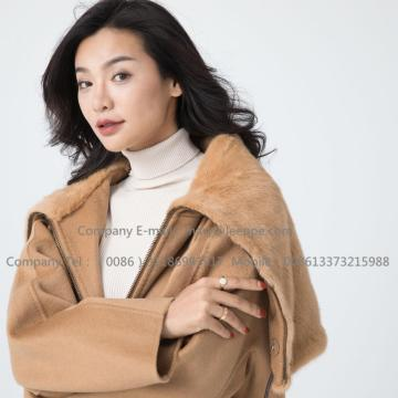Cashmere Coat With Mink Fur För Lady