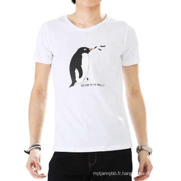 Moins Cher Top Qualité En Gros Coton Personnalisé Mode Hommes Blanc T-shirt