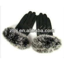 Nuevo guante de la piel de la manera del whosale del estilo para las señoras en invierno