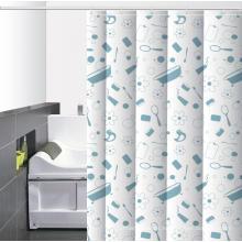 Cortina de ducha impresa baño impermeable barra Lowes