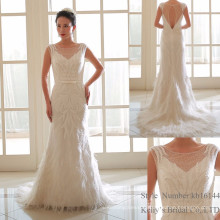2017 Heavy beadings ivory and feather sheath wedding dresses
