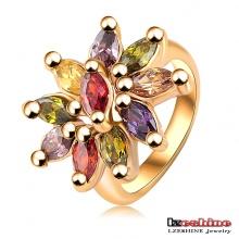 Multicolor zircão anel de flor de cristal (ri-hq0012)