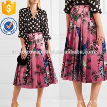 Плиссированные печатных Шелкового атласа Миди юбка Производство Оптовая продажа женской одежды (TA3035S)