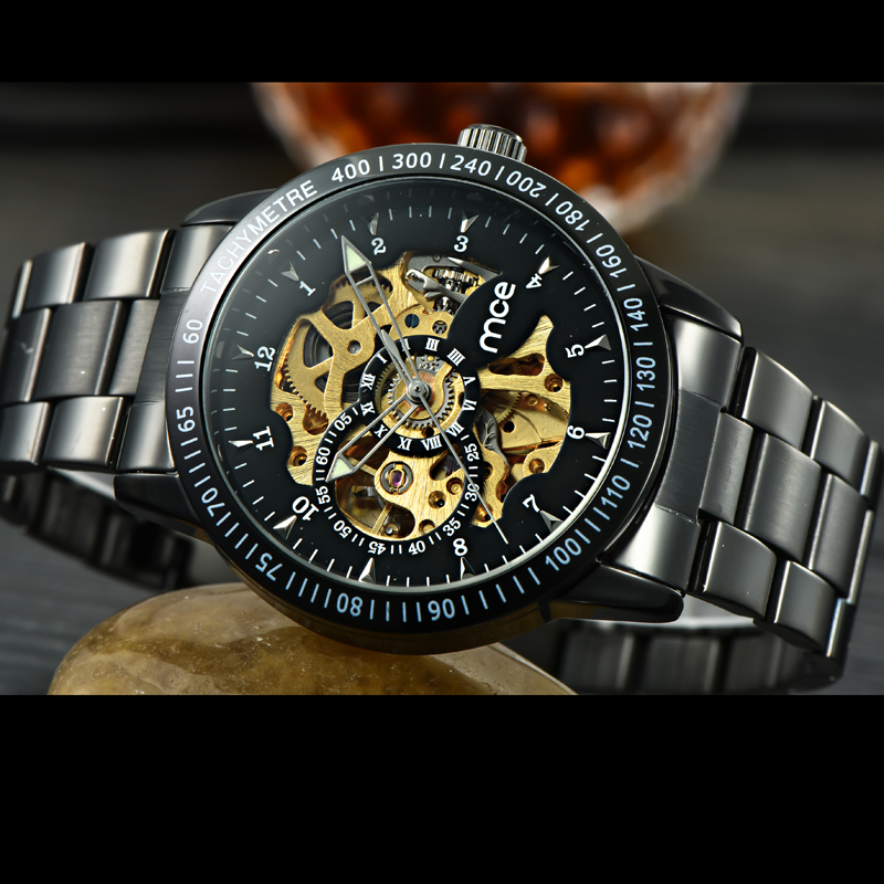 Stainless Steel Back Automatic Mechanical Watches for Men
