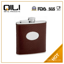 FDA 6oz Embossed Leather Flask with Snake Skin Pattern