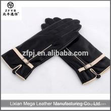 Großhandelsniedrige Preis-Qualität 2015 neue Art- und Weiselamm-Haut-Dame-Leder-Handschuhe