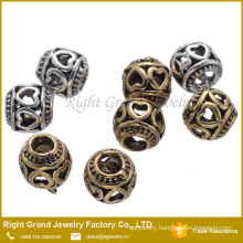 Hollow Design Big Hole European Zinc Alloy Beads For Bracelets and Necklace