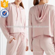Розовый стрейч Джерси с капюшоном Топ OEM/ODM в производство Оптовая продажа женской одежды (TA7009H)