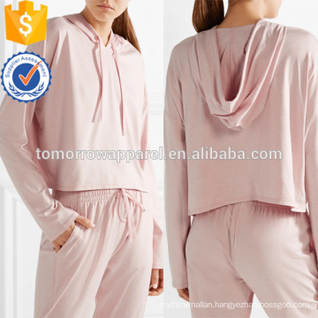 Pink Stretch Jersey Hooded Top OEM/ODM Manufacture Wholesale Fashion Women Apparel (TA7009H)