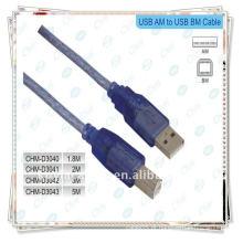 Nickle chapeou o cabo da impressora do USB, 2.0 um macho ao cabo masculino de B