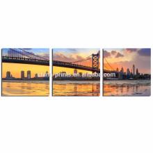 Cópia da fotografia da ponte de Ben Franklin na lona / cartaz moderno da parede da arquitectura da cidade / pintura da lona da lona do marco
