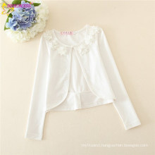 Girl Floral Long Sleeves Tippets,Girl Natural White O-neck Tippets With Backside Bow