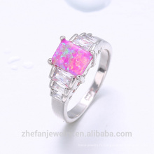 Guangzhou pierres précieuses bijoux marché feu opale anneau design chinois bijoux en argent