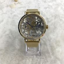 Logo Custom Transparan Gold Stainless Steel Mechanical Watch