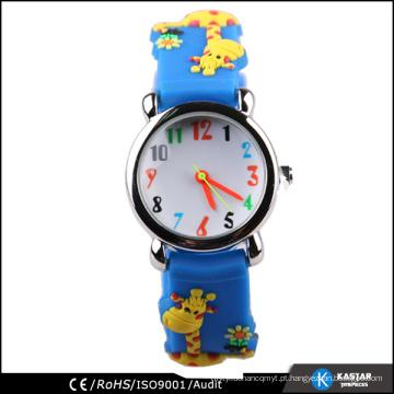 Desenhos animados engraçados do relógio da criança, relógio do silicone