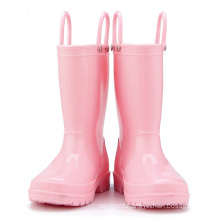 Kids New Fashion Light Pink Color Waterproof Nature Material  Rain Boots Easy-on Handles Shoes