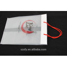 Bolsa de transporte transparente com alça de corda e gusset