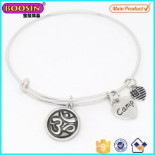Fashionable Custom Alloy Silver Yoga Charm Adjustable Bangle