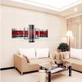 Pintados à Mão Arte da parede Líneas pretas vermelhas / Pintura a óleo da paisagem abstrata na lona / pintura da lona da decoração para o hotel